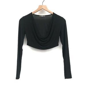 Missguided Black Long Sleeve Crop Top - Size 6